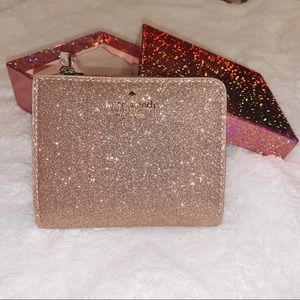 NWT Rose Gold Sparkly Kate Spade Bifold Wallet